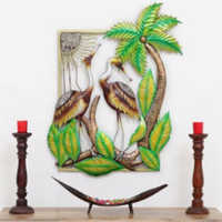 Iron Wall Decor Swan Couple at Beach