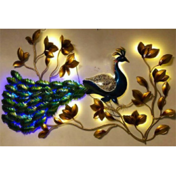 Metal Wall Decor Peacock with Leafs LED