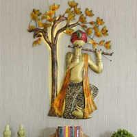 Iron Handicrafts Wall Decor Basuri Player With Tree Led