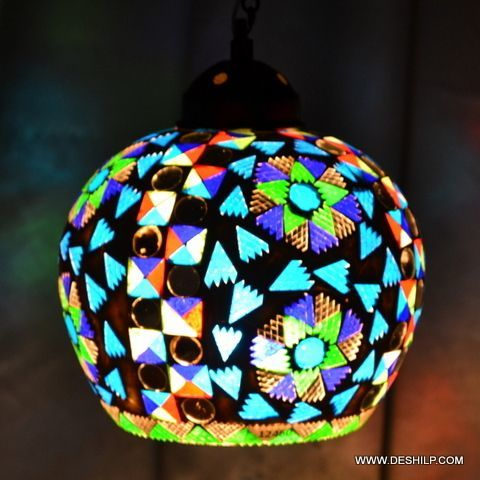 Multicolor Round Shape Glass Wall Lamp