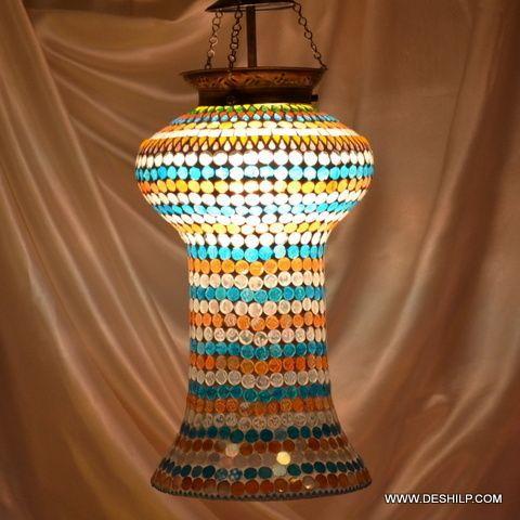 Yellow Multi Mosaic Glass Wall Hanging Lamp