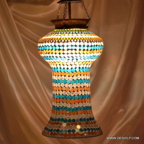Yellow Multi Mosaic Glass Wall Hanging Lamp