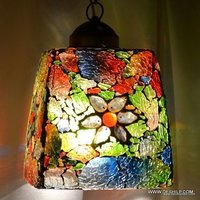 Multicolor Style Large Mosaic Hanging Lamp Light