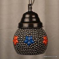 Black Turkish Mosaic Hanging Lamp Light Hand Craft Medium