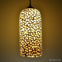 Yellow Seap Hanging Lamp Handcrafted
