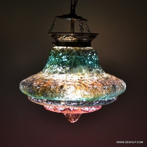 Multicolor Decorated Circular Silver Glass Hanging Lamp