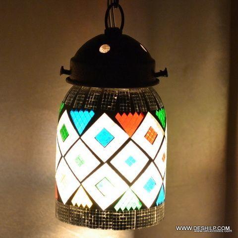 Multicolor Handmade Mosaic Glass Hanging Lamp