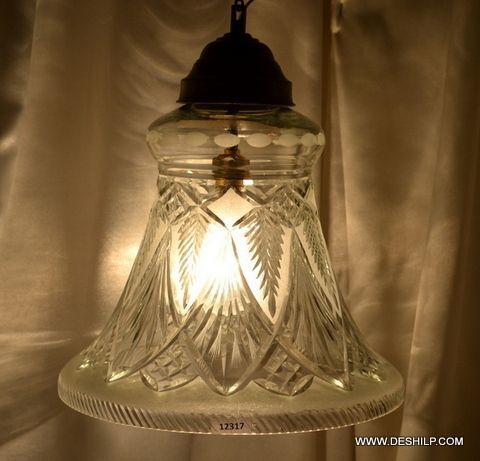White Crystal Cutting Hanging Lamp