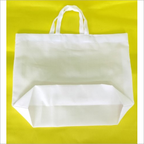 White Cotton Carry Bags With Bottom Base