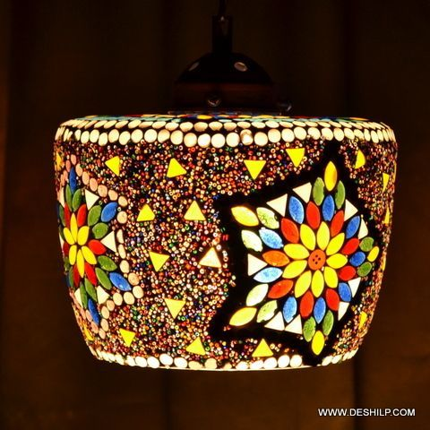 Multicolor Handmade Glass Wall Hanging Lamp