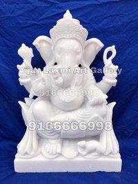 White Ganpati Marble Statue