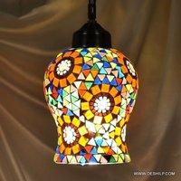 Multicolor Multi Mosaic Glass Hanging Lamp