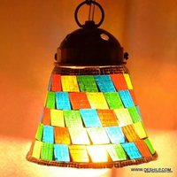 Multicolor Decorated Glass Handmade Mosaic Hanging Lamp