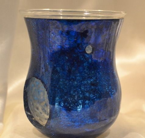 Blue Glass Silver Candle Oil Burner