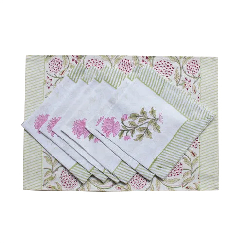 Hand block print table mat&napkin