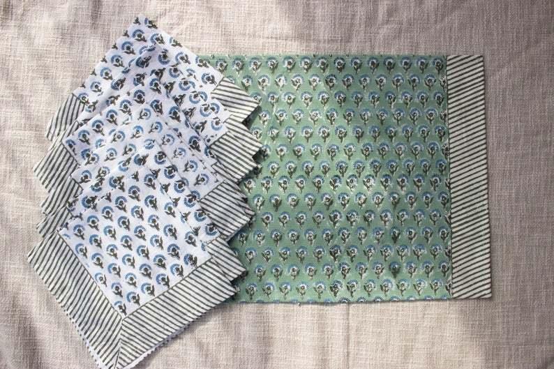 block print table mat & napkin