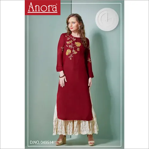 Ladies Embroidered Cotton Kurti  With Palazzo