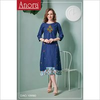 Ladies Cotton Embroidered A Line Kurti