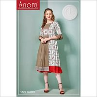 Ladies Cotton Printed Work Straight Kurti