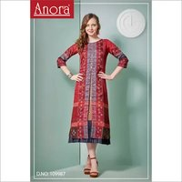 Cotton Printed Work Straight Kurti