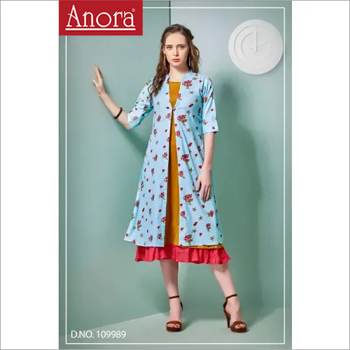 Cotton Embroidered  A Line Kurti