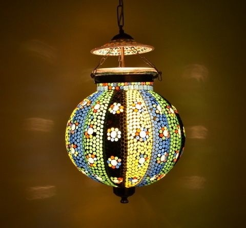 Multicolor Mosaic Decor Glass Wall Hanging