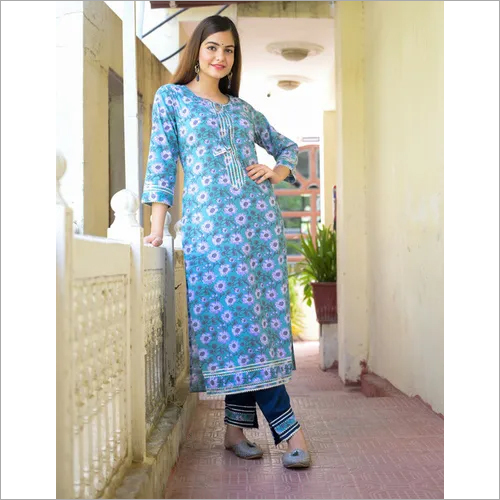 Blue Cotton Pant Set
