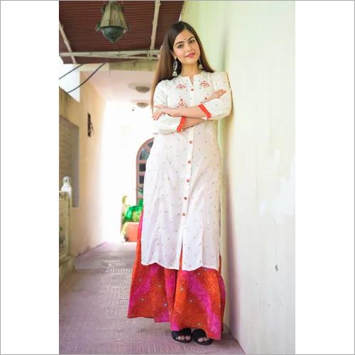 White Red Embroidered Sharara set