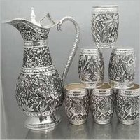 925 Silver Article Jug Glass Set