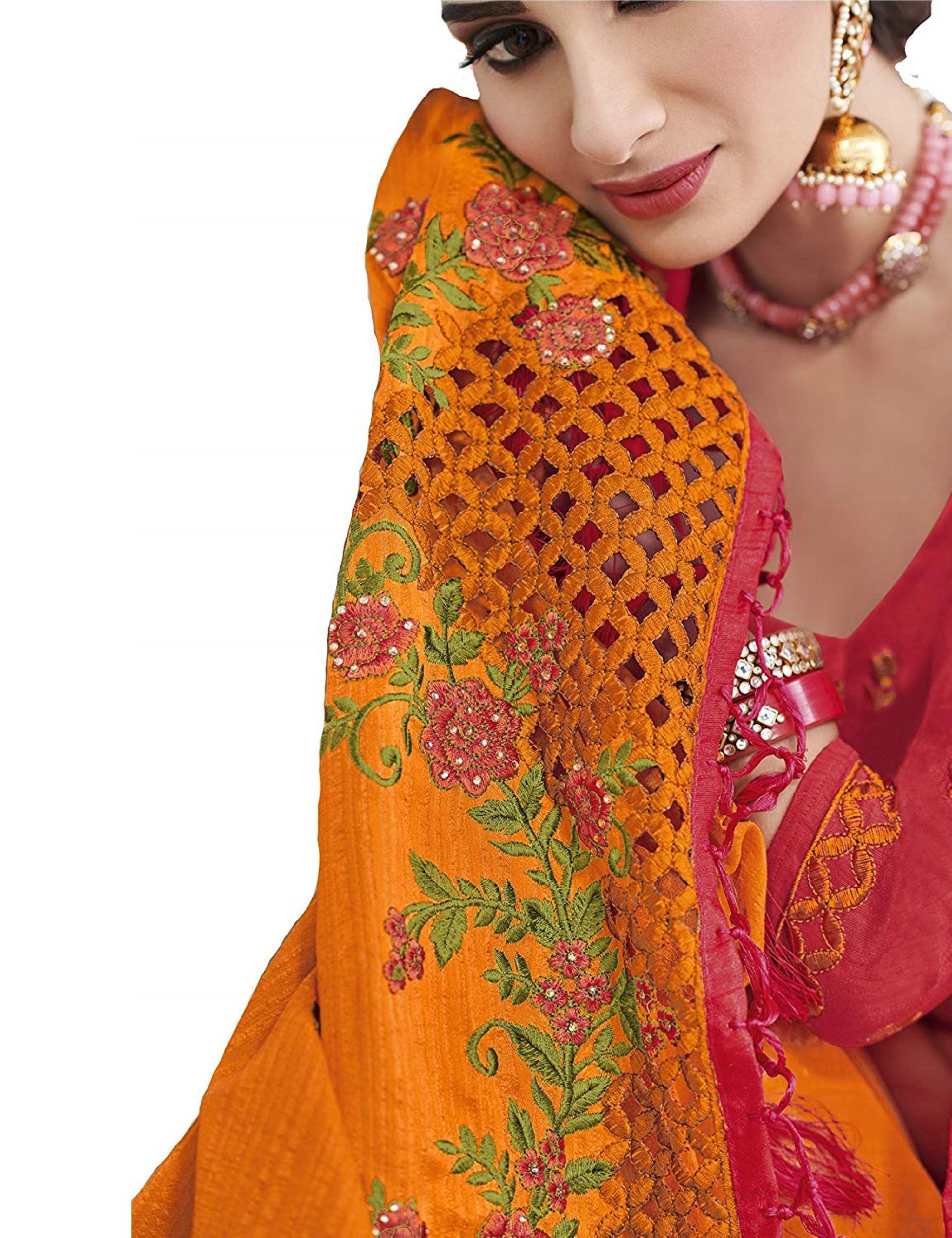 Satin Yellow Embroidery Saree
