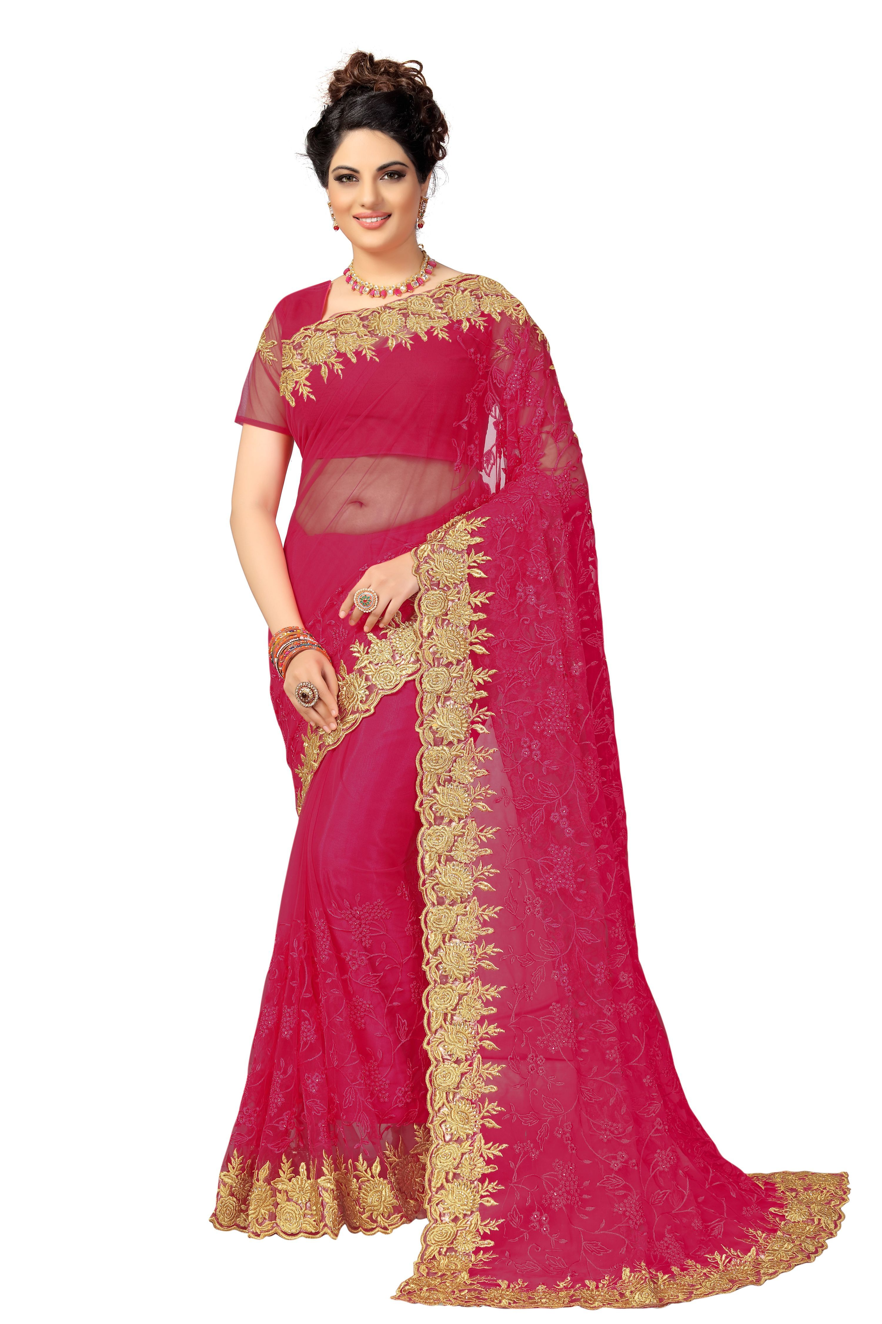 Net Heavy Embroidery work Saree