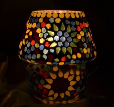 Multicolor Glass Mosaic Small Table Lamp