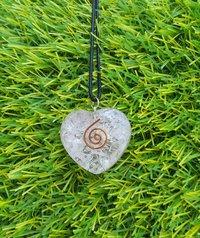 Rose Quartz Healing Heart Orognite Pendant