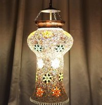 Golden Mosaic Finish Glass Wall Hanging Lamp