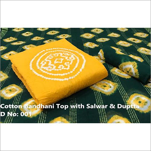 Printed Cotton Bandhani Suit Fabric