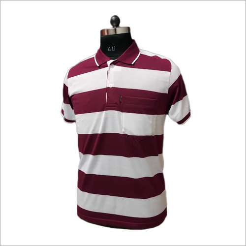 Mens Polo Neck Striped T-Shirt