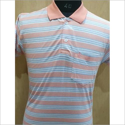 Mens Formal Wear Striped T-Shirt