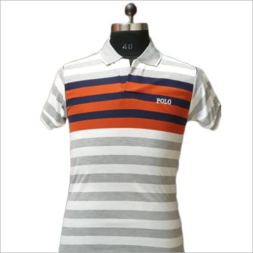 Mens Polo Fancy Neck Striped T Shirt