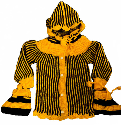 Mustard Hand knitted baby suit set