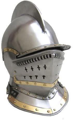 B005lqan2s Bergonet Knight's - Jousting Closed Helmet In Steel Brass Trim