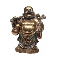 Ceramic Gold Plated Laughing Buddha Statue