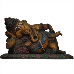 Wooden Ganesh Painted Statue