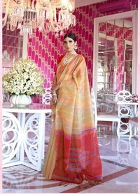 Handloom Weaving Silk Dhaga Work Saree