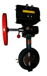 Pneumatic wafer metal sealing butterfly valve