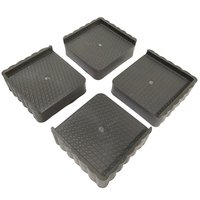 Plastic Stand For Almirah, Wardrobe, Refrigerator (Grey Black) -set Of 4-pieces