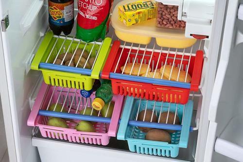 Adjustable Fridge Storage Basket Expandable Fridge Storage Rack Plastic Fridge Space Saver Food Organizer Tray (Set of 4)