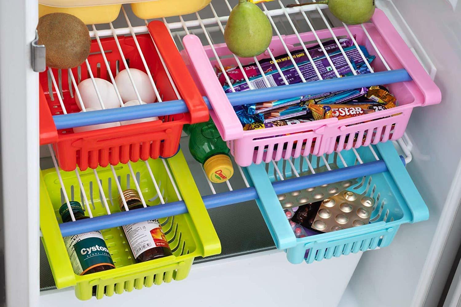 Adjustable Fridge Storage Basket Expandable Fridge Storage Rack Plastic Fridge Space Saver Food Organizer Tray (Set of 4)
