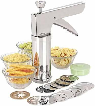 Stainless Steel Kitchen Press with 15 Different Disc Grater (Silver)