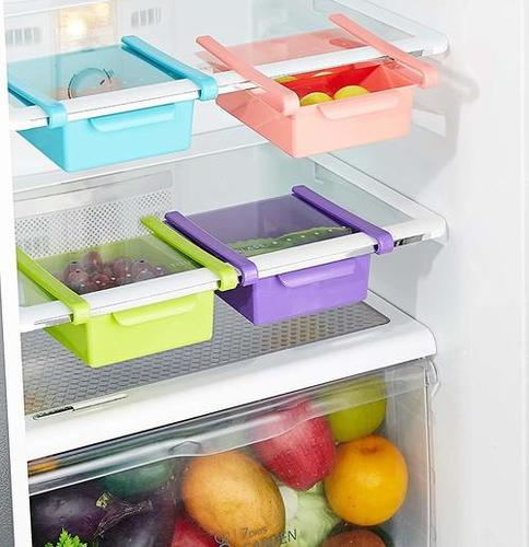 4 Pcs Fridge Space Saver Organizer Slide Multipurpose Refrigerator Storage Rack