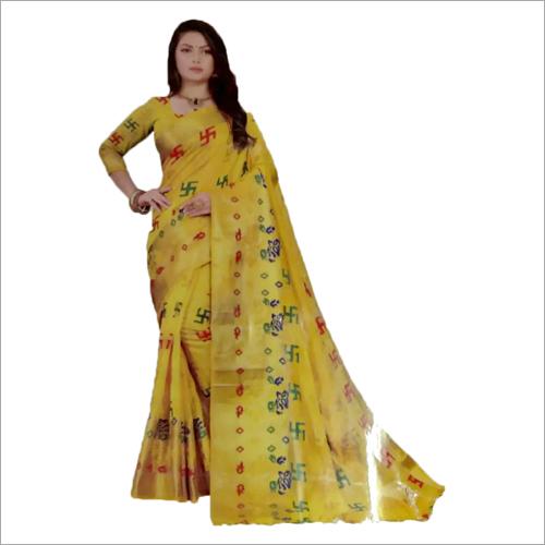 Ladies Yellow Swastik Handloom Sarees